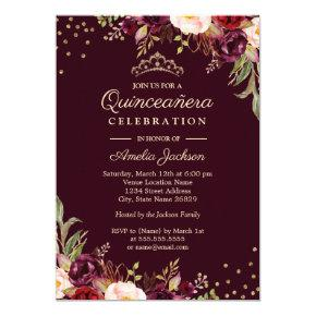 Quinceanera Gold Burgundy floral Sparkle Invitation