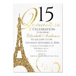Quinceanera Gold Eiffel Tower 15th Birthday Invitation