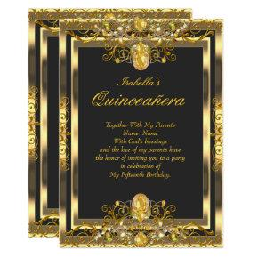 Quinceanera Gold Gems Black 15th Birthday Invitations