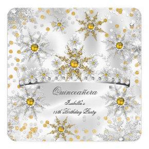 Quinceanera Gold Silver Snow Winter Wonderland Invitation