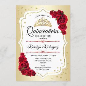 Quinceanera - Gold White Red Invitation