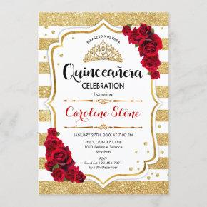 Quinceanera - Gold White Stripes Red Roses Invitation