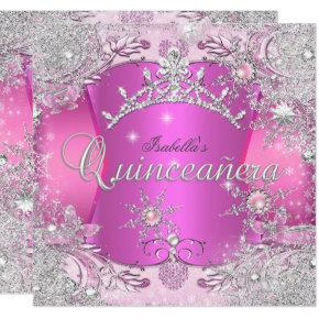 Quinceanera Hot Pink Winter Wonderland Snowflakes Invitations