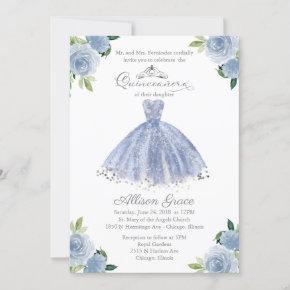 Quinceanera Invitation Bilingual Blue Blush Gown