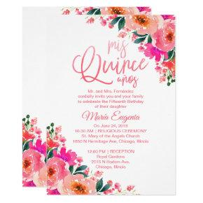 Quinceanera Invitation Bilingual Hot Pink Floral