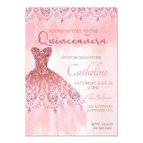 Quinceanera Invitation blush pink 15th birthday
