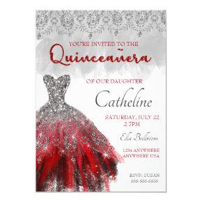 Quinceanera Invitation red silver 15th birthday