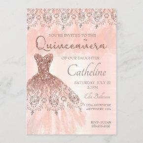 Quinceanera Invitation rose gold, 15th birthday