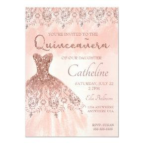 Quinceanera Invitation rose gold, 15th birthday