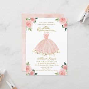 Quinceanera Invitation Spanish Blush Gown Floral