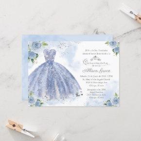 Quinceanera Invitation Spanish Silver Blue Gown