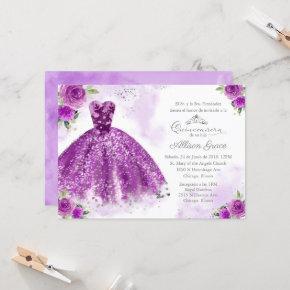 Quinceanera Invitation Spanish Silver Purple Gown