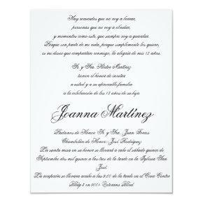 Quinceanera Invitations in Spanish 4.25 x 5.5