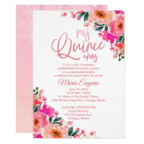 Quinceanera  Spanish Hot Pink Floral