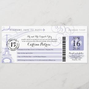 Quinceanera Lavender   Paris Boarding Pass Invitation