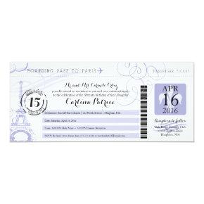 Quinceanera Lavender | Paris Boarding Pass Invitation