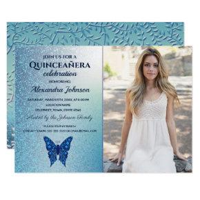 Quinceanera Luxury Glitter Blue Butterfly Photo Invitation