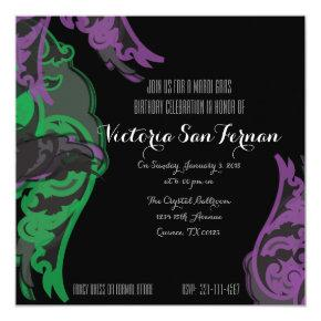 quinceañera MARDI GRAS birthday invitation