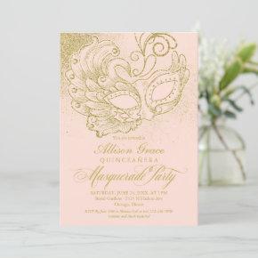 Quinceanera Masquerade Invitation Pink Gold