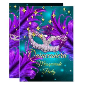 Quinceanera Masquerade party mask Teal Purple gold Invitation