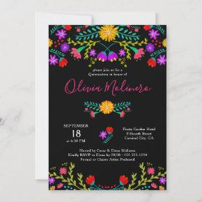 Quinceanera Mexican Fiesta Colorful Floral Black Invitation