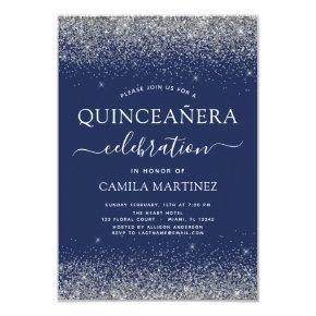 Quinceanera Navy Blue Silver Modern Glitter Invitation