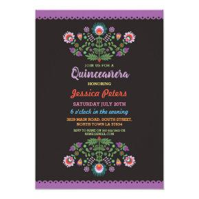 Quinceanera Party Floral Fiesta Mexican Birthday Invitations