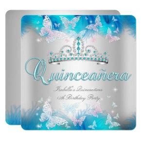 Quinceanera Party Pink Teal Blue Tiara Butterfly Invitations