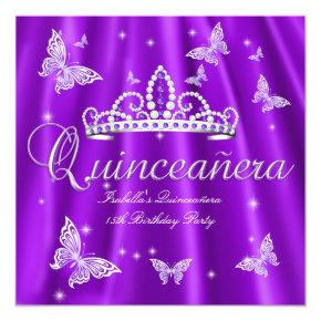 Quinceanera Party Purple Tiara Butterfly Invitations