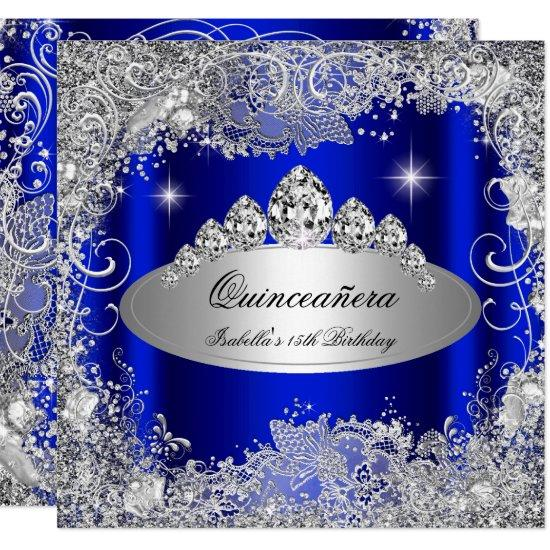 quinceanera party royal blue silver tiara invitations candied clouds