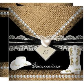 Quinceanera Party Rustic Burlap Cowgirl Hat Boots Card