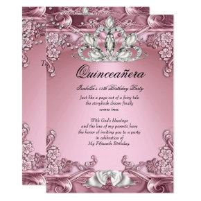 Quinceanera Pink 15th Birthday Party Invitations