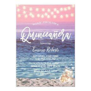 Quinceanera Pink Beach Mason Jar String Light Invitation
