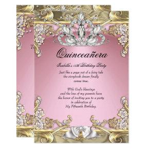 Quinceanera Pink Gold 15th Birthday Party Invitations