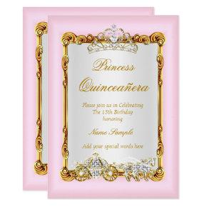Quinceanera Pink Gold Horse Carriage Fairytale Invitations