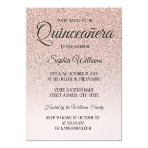 Quinceanera Pink Rose Gold Glitter 15th Birthday Invitation