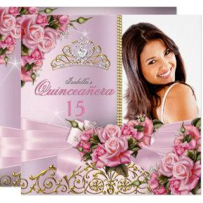 Quinceanera Pretty Pink Roses Tiara Photo Birthday Invitations