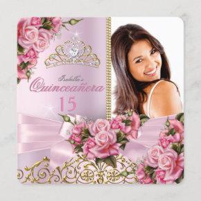 Quinceanera Pretty Pink Roses Tiara Photo Birthday Invitation