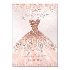 Quinceañera, Princess Faux Rose Gold Tiara+Gown Invitation
