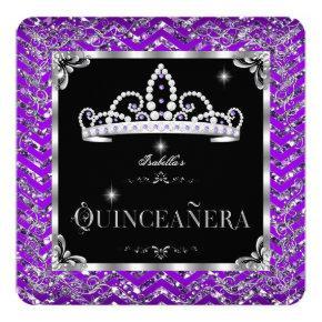 Quinceanera Purple Black Silver Diamond Tiara Card