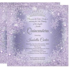Quinceanera Purple Lilac Snowflake Winter party Invitation