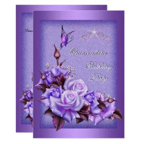 Quinceanera Purple Roses Butterfly Floral 2a Invitation