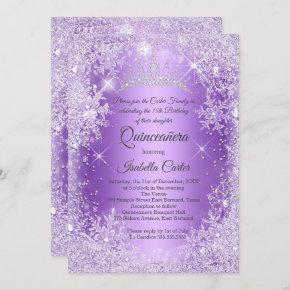 Quinceanera Purple Snowflake Winter Wonderland Invitation