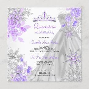 Quinceanera Purple Winter Wonderland Snowflake 2 Invitation