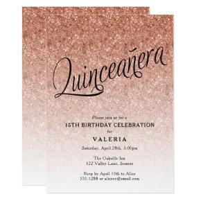 Quinceanera Rose Gold Glitter Birthday Invitations