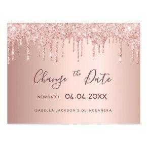 Quinceanera rose gold glitter drip change the date post