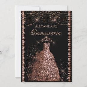 Quinceanera Rose Gold Glitter Gown Sparkle Lights