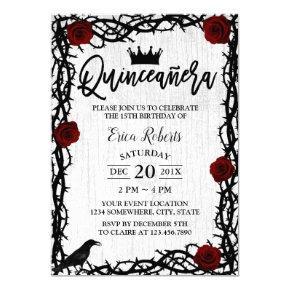 Quinceanera Rose Thorn Elegant Fairy Tale Birthday Invitation