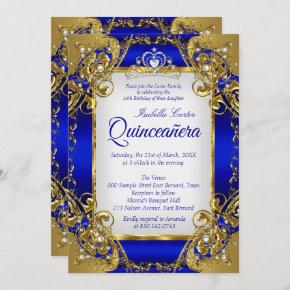 Quinceanera Royal Blue Golden Pearl Tiara Party Invitation