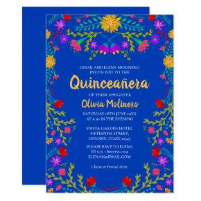 Quinceanera Royal Blue Mexican Flowers Birthday Invitation